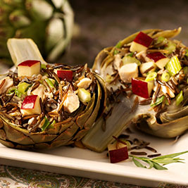 Artichokes Stuffed with Chicken and California Wild Rice